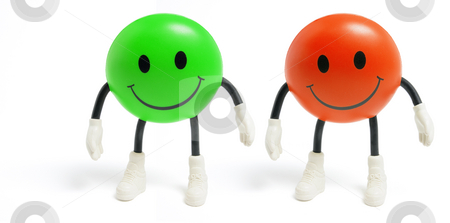 Smiley Toys stock photo, Smiley Toys on White Background by Lai Leng Yiap