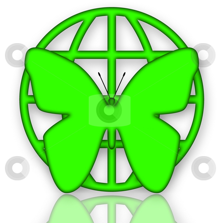 Green Protection stock photo, Butterfly and Globe Green Protection Symbol over White Background by Skovoroda