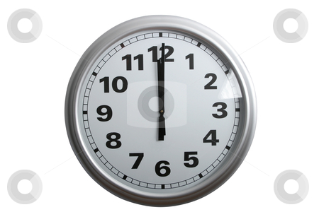 12 o'clock stock photo, A stylish wall clock showing 12 o'clock, isolated on white with clipping path by Johann Helgason