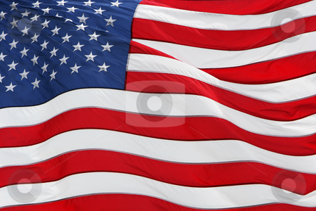 America the great stock photo, Full frame shot of the US flag flying by Johann Helgason