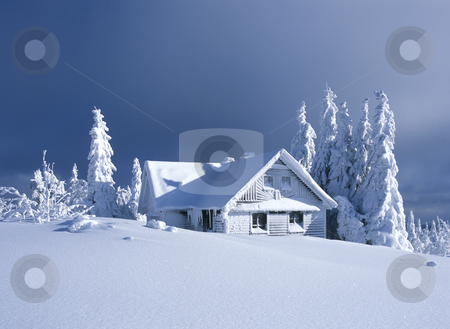 Cottage in winter, Orlicke hory, Czech Republic stock photo, Cottage in winter, Orlicke hory, Czech Republic by Richard Semik