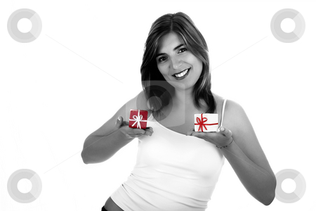 Christmas woman stock photo, Christmas season! Different poses of a beautiful woman with small gifts on the hands. (desaturated woman with colored gifts) by ikostudio