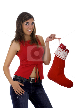 Christmas woman stock photo, Christmas season! Different poses of a beautiful woman with a Christmas Socks full of small gifts inside. by ikostudio