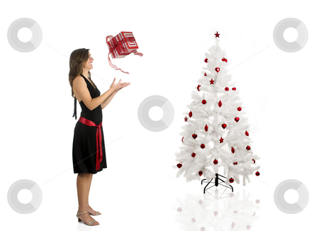 Happy woman with a gift stock photo, Beautiful Woman wiht a gift and a Christmas tree by ikostudio