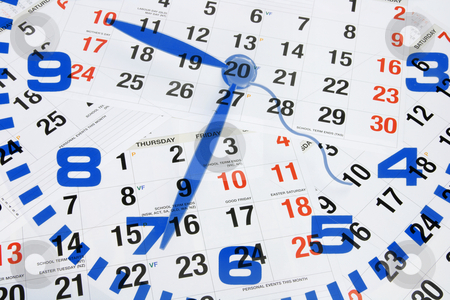 Clock and Calendar stock photo, Composite of Clock and Calendar by Lai Leng Yiap