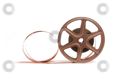 Movie Film Reel stock photo, Movie Film Reel on White Background by Lai Leng Yiap