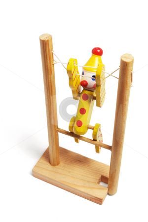 Wooden Gymnastic Toy stock photo, Wooden Gymnastic Toy on White Background by Lai Leng Yiap