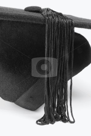 Mortarboard stock photo, Close Up of Mortarboard on Seamless White Background by Lai Leng Yiap
