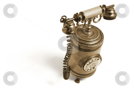 Vintage Phone stock photo, Vintage Phone on White Background by Lai Leng Yiap
