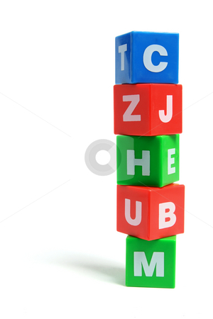 Stack of Alphabet Cubes stock photo, Stack of Alphabet Cubes on White Background by Lai Leng Yiap