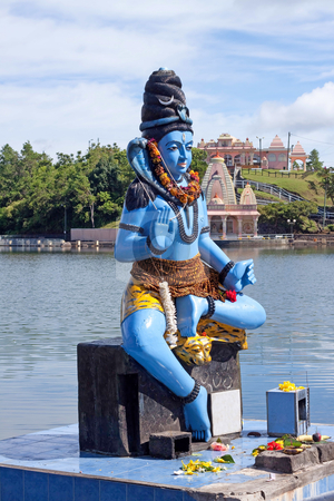 Lord Shiva stock photo, Shiva statue and Hindu temple at Grand Bassin lake, Mauritius by Gowtum Bachoo