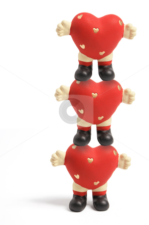 Love Heart Figurines stock photo, Love Heart Figurines on White Background by Lai Leng Yiap