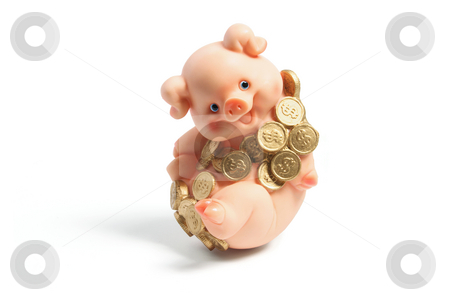Piggybank with Coins stock photo, Piggybank with Coins on White Background by Lai Leng Yiap