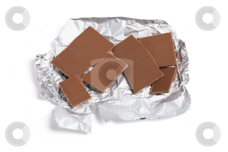 Pieces of Chocolate stock photo, Pieces of Chocolate on White Background by Lai Leng Yiap