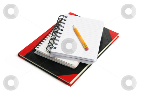 Pencil and Note Books stock photo, Pencil and Note Books on White Background by Lai Leng Yiap