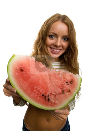 Girl holding piece of watermelon stock photo, Girl holding a piece of watermelon by Dmitry Skutin