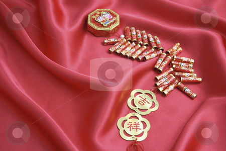 Fire Crackers stock photo, Fire Crackers on Red Velvet Background by Lai Leng Yiap