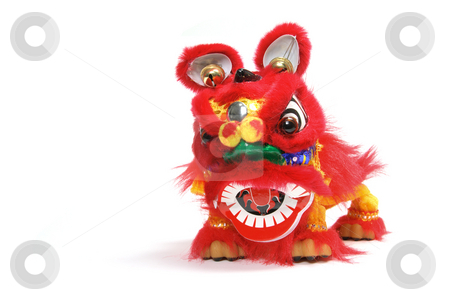 Lion Dancing  stock photo, Lion Dancing on Isolated White Background by Lai Leng Yiap