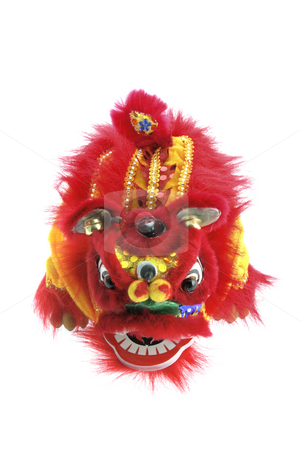Chinese Lion Dancing stock photo, Chinese Lion Dancing on White Background by Lai Leng Yiap