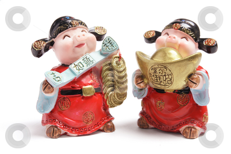 God of Wealth Figurines stock photo, God of Wealth Figurines on White Background by Lai Leng Yiap