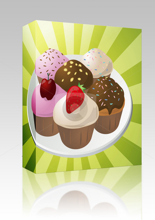 Assorted cupcakes box package stock photo, Software package box Fancy decorated assorted cupcakes illustration clip art by Kheng Guan Toh