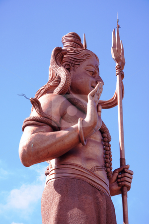 Hindu God Shiva stock photo, Tall statue of lord Shiva by Gowtum Bachoo
