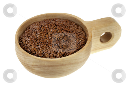 Scoop of brown flax seeds stock photo, Brown flx seeds on a rustic wooden scoop (cup), isolated on white by Marek Uliasz