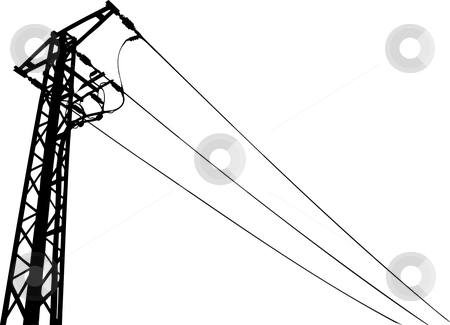 Power lines vector stock vector clipart, Power lines pylon black and white vector illustration by Jan Hostasa