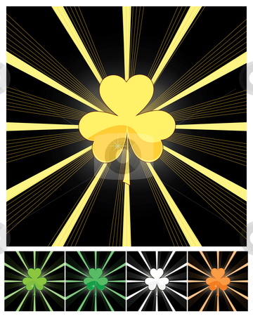 Shamrock and sunburst stock vector clipart, Shamrock and sunburst - vector illustrations by Nikola Stulic