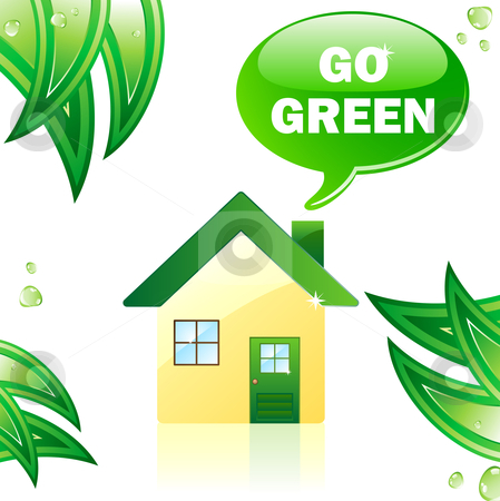 Go Green Glossy House. stock vector clipart, Go Green Glossy House. Editable Vector Image by AUGUSTO CABRAL