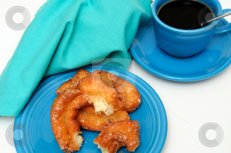 Buttermilk Donut Breakfast stock photo, Glazed buttermilk donut with a cup of black coffee served on turquoise colored plate, cup and napkin by Lynn Bendickson