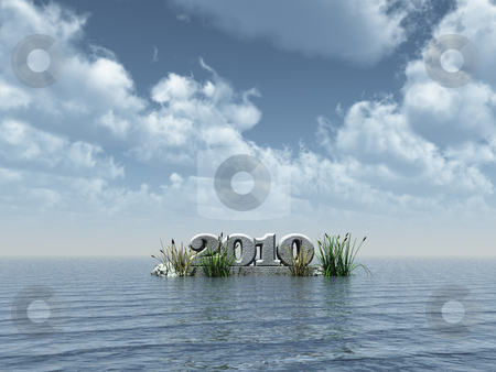 The year 2010 stock photo, The year 2010 monument at water - 3d illustration by J?