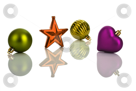 Christmas ornaments stock photo, Photo of multicolored Christmas ornaments with reflection by ikostudio