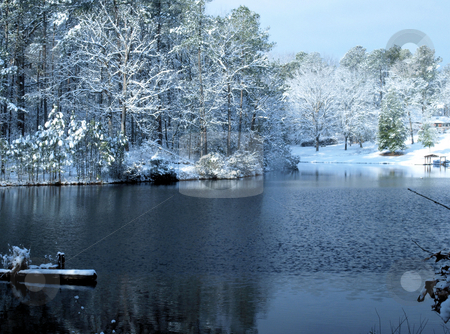 Winter at the lake stock photo, Winter lake after a snow storm by Tim Markley