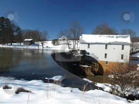 Old mill stock photo, An old mill after a snow storm by Tim Markley