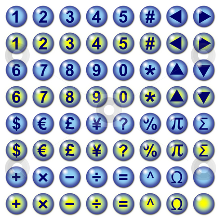 Number currency and mathematical symbol web buttons stock photo, Blue graphic interface buttons with number currency and mathematical operation symbols for web use. Part of a set. by J.R. Bale