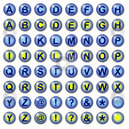 Blue Web Buttons with rollovers stock photo, Graphic interface or Web buttons including numbers currency and mathematical operation symbols Part of a set by J.R. Bale
