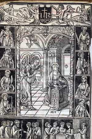 The Annunciation, page of medieval missal stock photo, The Annunciation, page of medieval missal by Zvonimir Atletic