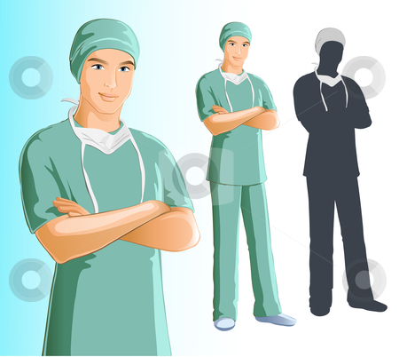 Surgeon Man  stock vector clipart, Includes JPEG and EPS 8 files. Character is grouped individually for easy modification. by Neda Sadreddin