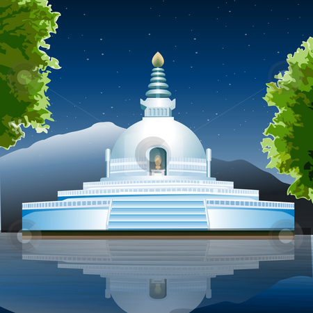 View of Lumbini, buddhist monastery, lake view stock photo, View of Lumbini, buddhist monastery, lake view by Abhishek Poddar