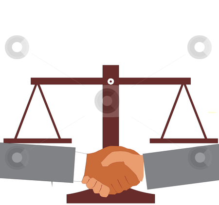 Agreement stock photo, View of shake hand with justice scale background by Abhishek Poddar