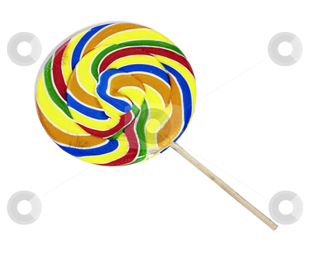 Isolated Carnival Lollipop stock photo, A large multicolored carnival lollipop is isolated against a white background by Richard Nelson