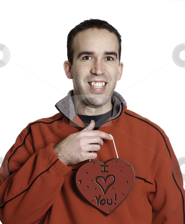Man Holding Heart stock photo, Man holding a heart with the words,