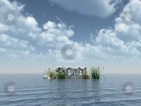 The year 2011 stock photo, The year 2011 monument at water - 3d illustration by J?
