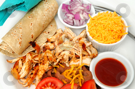 Chicken Tacos And Refried Beans stock photo, Shredded grilled spiced chicken on a white plate with fresh tortilla's, refried beans with sides of red onion, cheddar cheese and hot sauce. by Lynn Bendickson