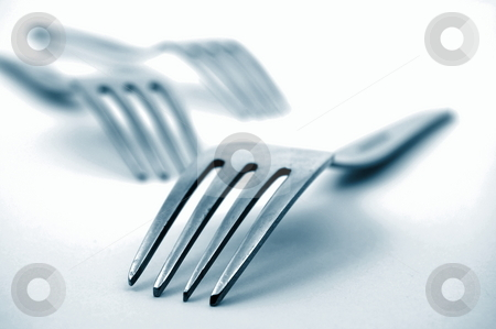 Fork in the kitchen stock photo, Abstract fork background as a food concept by Gunnar Pippel