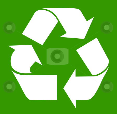 Recycling symbol stock photo, White recycling symbol isolated on green background. by Martin Crowdy