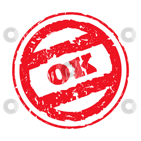 Okay stamp stock photo, Used okay stamp isolated on white background. by Martin Crowdy