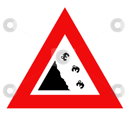 Falling Pounds currency sign stock photo, Falling English pounds Sterling currency sign in red warning triangle, isolated on white background. by Martin Crowdy