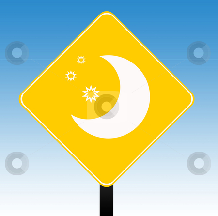 Hotel sign stock photo, Hotel sign with moon and stars, isolated on graduated blue sky background. by Martin Crowdy